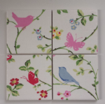 4 Ceramic Coasters in Clarke and Clarke Bird Trail Chintz